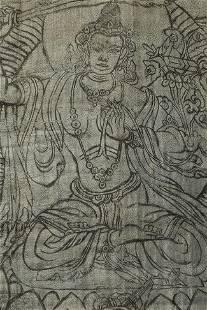 "Mongolian antique woodblock thangka. 13"" x 22"" (to"