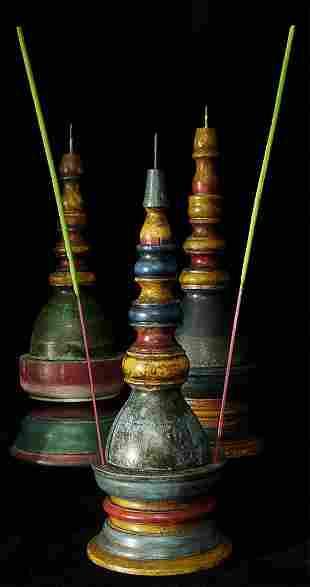 Set of five old/antique incense burner/candleholder