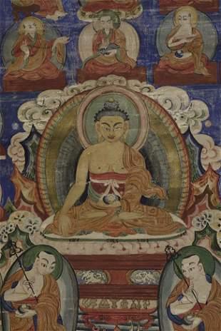 Antique Mongolian or Tibetan Thangka.