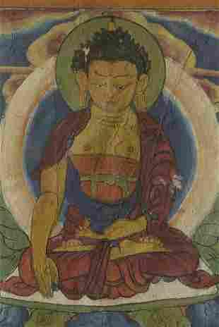 Antique Tibetan Thangka. Size is 7.75 x 19 inches.