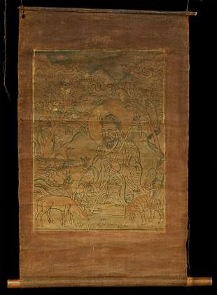 Delicate Mongolian hand colored wood block in old