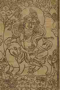 Vintage/old Tibetan or Mongolian Woodblock Thangka.