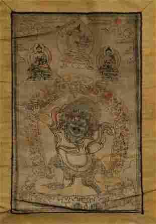 Vintage Mongolian woodblock print on cloth.