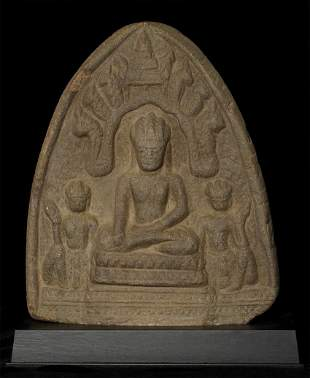 Authentic 13thC Cambodian Buddha trilogy carved in
