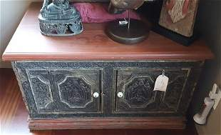 19thC Thai Temple Chest covered with Buddha images on