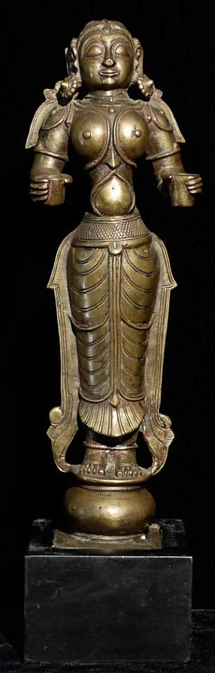 Outstanding and large 19thC Indian female figure.