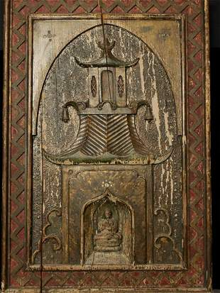 Wood Carved Buddhist Temple as hanging wall panel,
