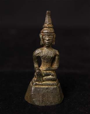 Special miniature 17/18th century Laos bronze Buddha.