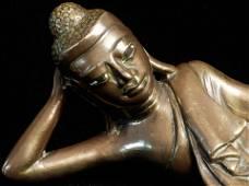 Excellent 18/19thC Solid-Cast Reclining Burmese Buddha.