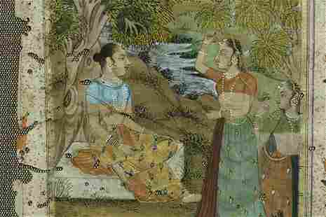 """19thC Indian Miniature Painting. Frame is 11.5"""" x 9.25"""""""