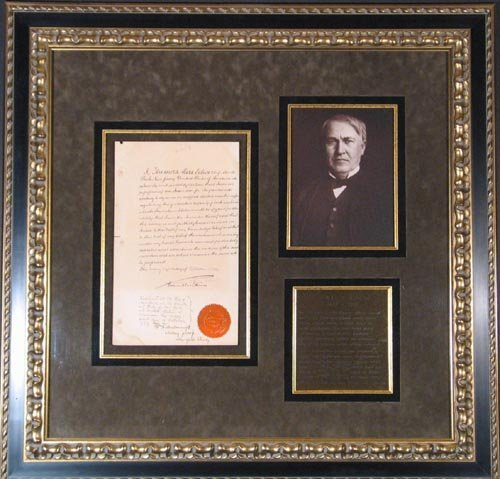 4200: THOMAS A. EDISON DOCUMENT SIGNED - EARLY PATENT