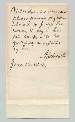 4201: ABRAHAM LINCOLN AUTOGRAPH NOTE SIGNED AS PRES