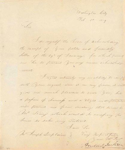 4207: ANDREW JACKSON MANUSCRIPT LETTER SIGNED