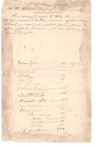 4212: JOHN TYLER MANUSCRIPT DOCUMENT SIGNED AS SENATOR