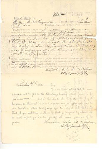 4220: (ABRAHAM LINCOLN)  LEGAL DOCUMENT - 1857