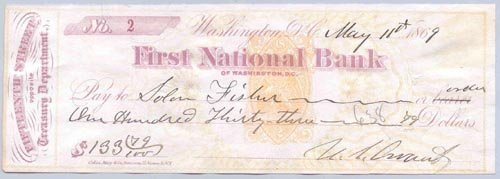 4221: ULYSSES S. GRANT CHECK SIGNED AS PRESIDENT