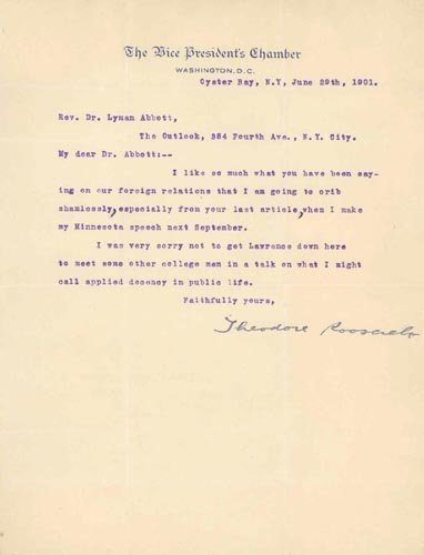 4223: THEODORE ROOSEVELT TYPED LETTER SIGNED AS VP