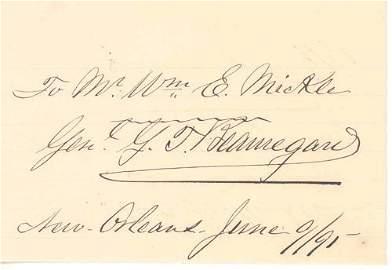 4254: PIERRE T. BEAUREGARD AUTOGRAPH NOTE SIGNED