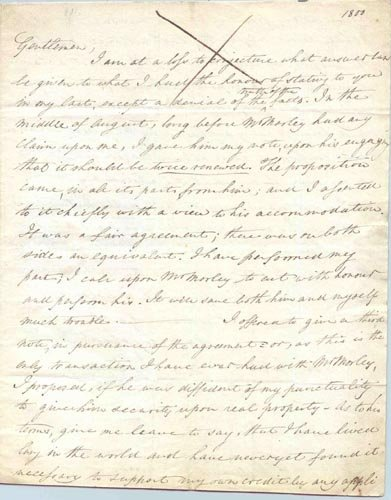 4403: JOHN SINGLETON COPLEY AUTOGRAPH LETTER SIGNED