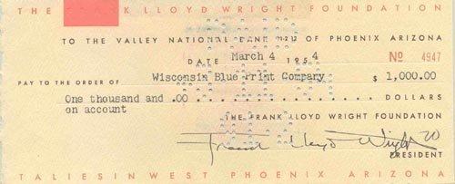 4406: FRANK LLOYD WRIGHT DOCUMENT SIGNED - ARCHITECT