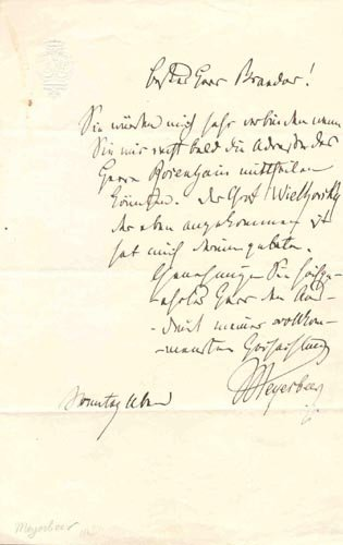 4412: GIACOMO MEYERBEER AUTOGRAPH LETTER SIGNED