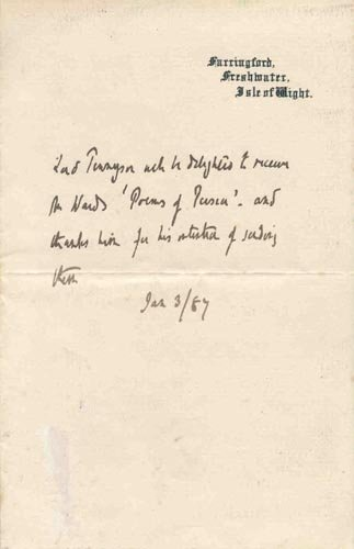4413: ALFRED LORD TENNYSON AUTOGRAPH LETTER SIGNED