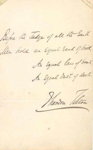 4416: THEODORE TILTON AUTOGRAPH QUOTE SIGNED