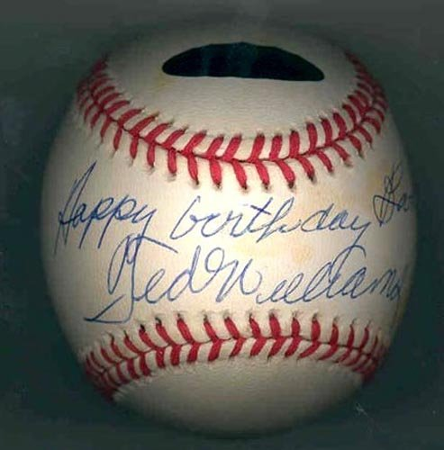 4613: TED WILLIAMS SIGNED & INSCRIBED BALL-GRN DIAMOND