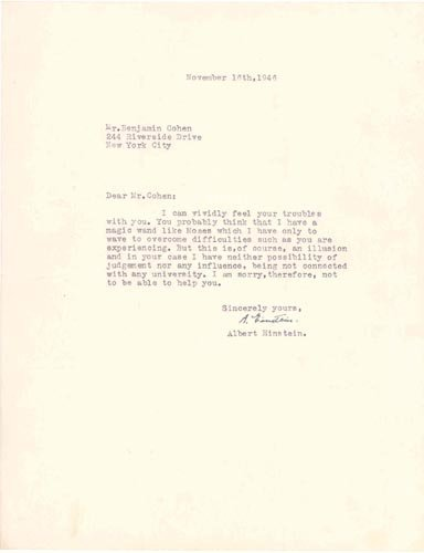 """4801: ALBERT EINSTEIN TYPED LETTER SIGNED-""""LIKE MOSES"""""""