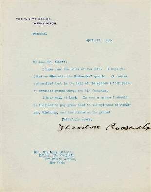 PRESIDENT THEODORE ROOSEVELT TYPED LETTER SIGNED