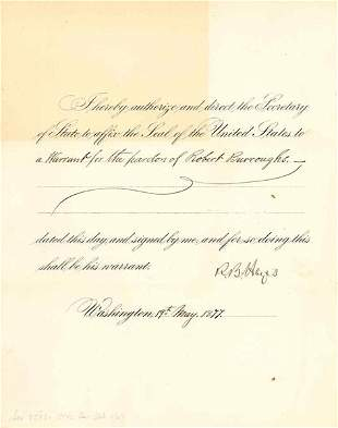 RUTHERFORD B. HAYES DOCUMENT SIGNED AS PRESIDENT