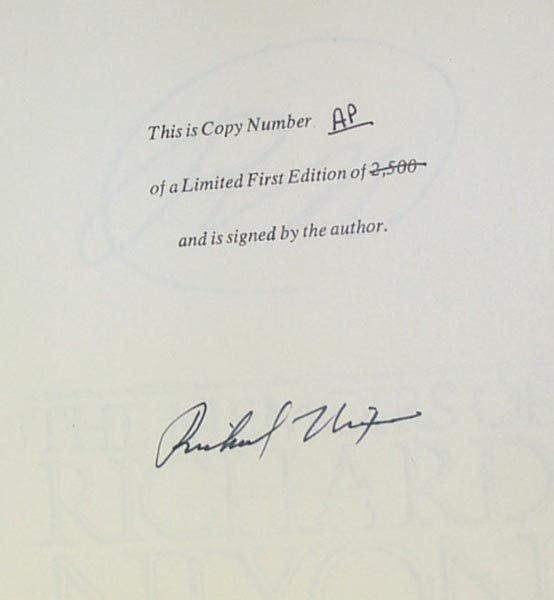 1005: PRESIDENT RICHARD M. NIXON BOOK SIGNED - MEMOIRS
