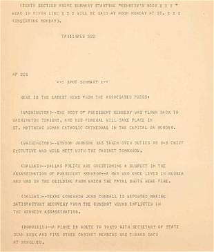 (JFK) AP WIRE TELETYPE FROM ASSASSINATION