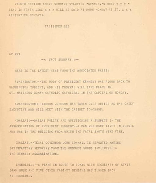 1007: (JFK) AP WIRE TELETYPE FROM ASSASSINATION