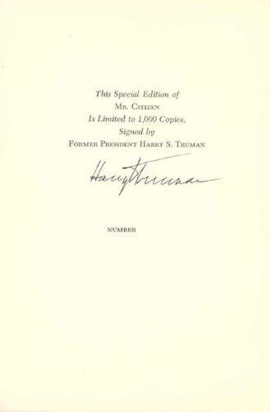 1010: PRESIDENT HARRY S. TRUMAN DOCUMENT SIGNED