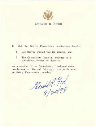 GERALD R. FORD DOCUMENT SIGNED - PRESIDENT