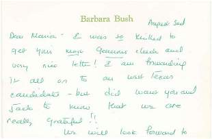 BARBARA BUSH AUTOGRAPH LETTER SIGNED - FIRST LADY