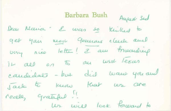 1013: BARBARA BUSH AUTOGRAPH LETTER SIGNED - FIRST LADY