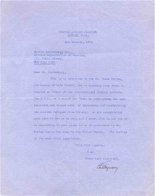 CHAIM WEIZMANN TYPED LETTER SIGNED - ISRAEL