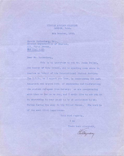 1014: CHAIM WEIZMANN TYPED LETTER SIGNED - ISRAEL