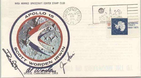 1021: APOLLO XV CREW SIGNED INSURANCE COVER - NASA