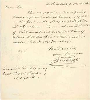 THOMAS H. CUSHING LETTER SIGNED - 1820
