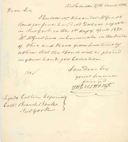 1023: THOMAS H. CUSHING LETTER SIGNED - 1820