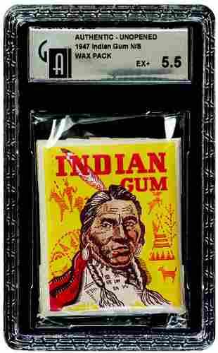 2: 1947 GOUDEY INDIAN GUM UNOPENED WAX PACK