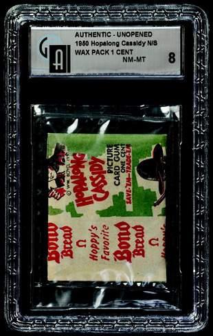 12: 1950 TOPPS HOPALONG CASSIDY BOND BREAD WAX PACK