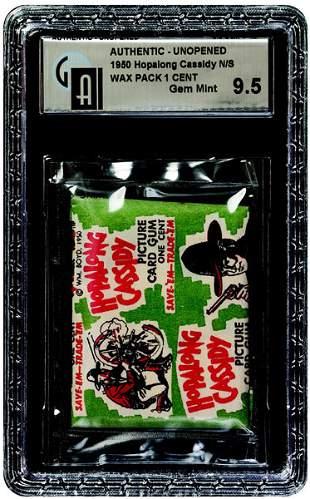 13: 1950 TOPPS HOPALONG CASSIDY 1 CENT GREEN WAX PACK
