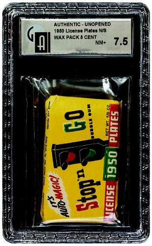 15: 1950 TOPPS STOP & GO LICENSE PLATES WAX PACK-SMALL