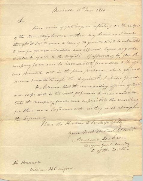 500: ANDREW JACKSON ALS AS MAJOR GENERAL TO SEC OF WAR