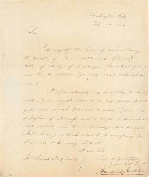 501: ANDREW JACKSON LETTER SIGNED - PRESIDENT