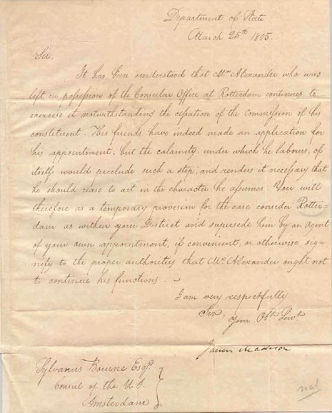 503: JAMES MADISON LETTER SIGNED AS SEC. OF STATE